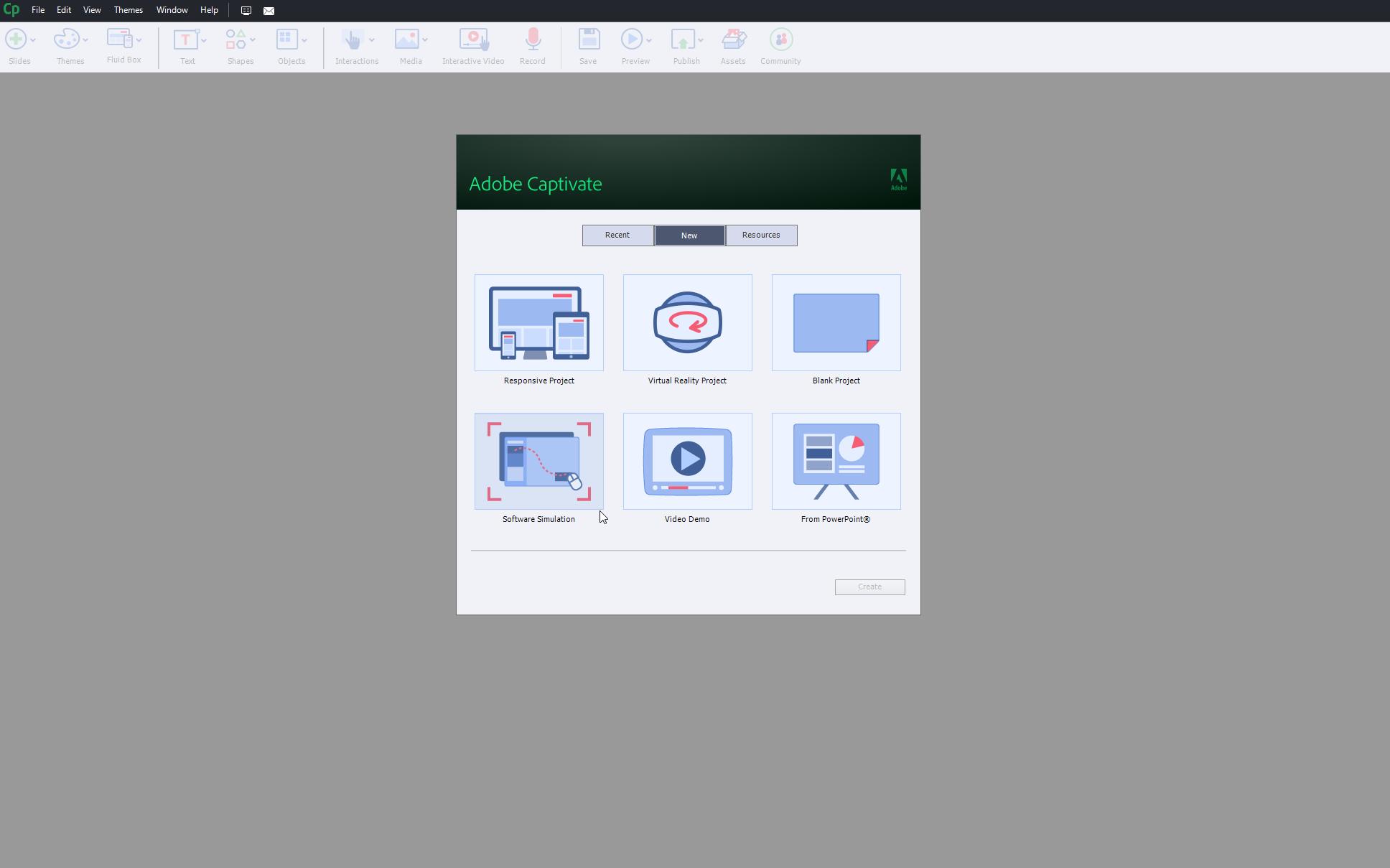 Screenshot der E-Learning Software Adobe Captivate