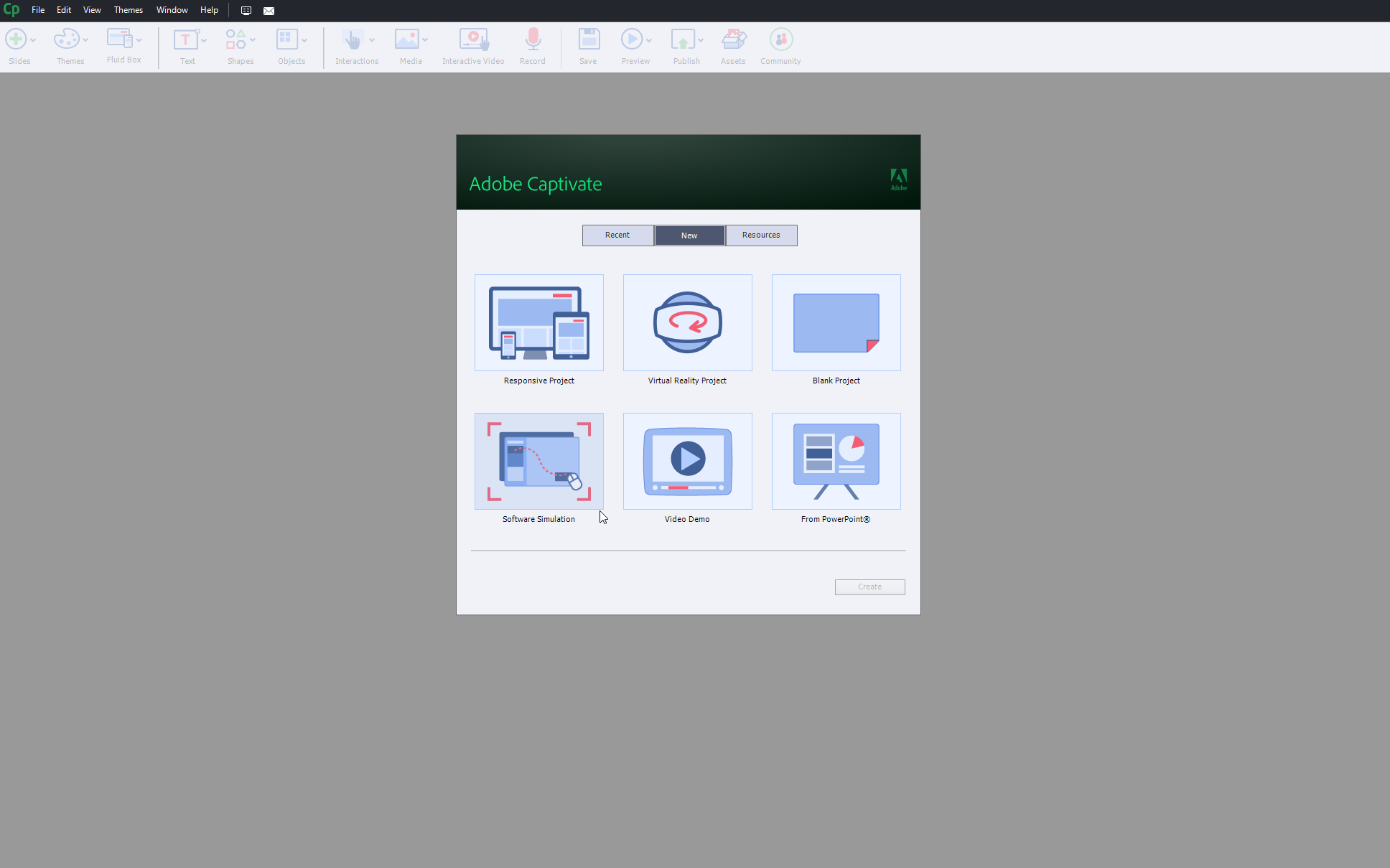 Screenshot der E-Learning Software Adobe Captivate
